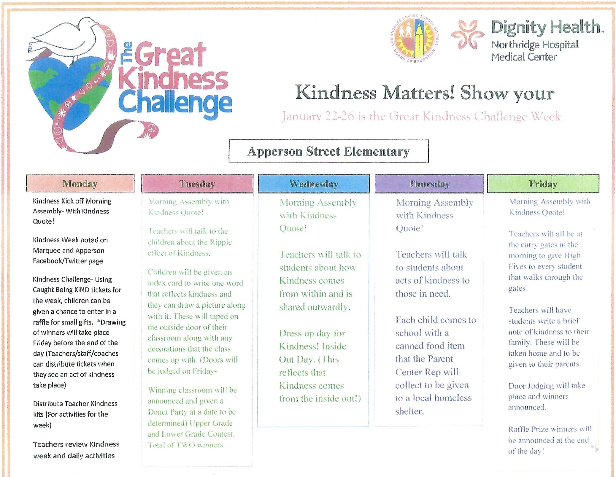A week s worth of activities for The Great Kindness Challenge